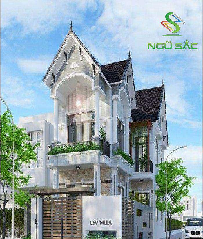 Phong cách nhà phố hiện đại 2 mặt tiền mái thái