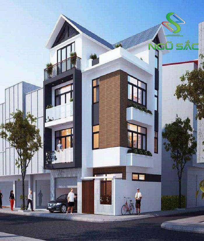 Mẫu nhà phố hai mặt tiền mái thái