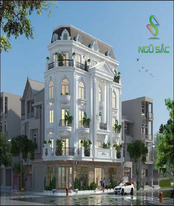 Thiết kế nhà phố nhiều tầng 2 mặt tiền tân cổ điển