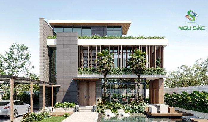Kiểu nhà biệt thự kết hợp gỗ