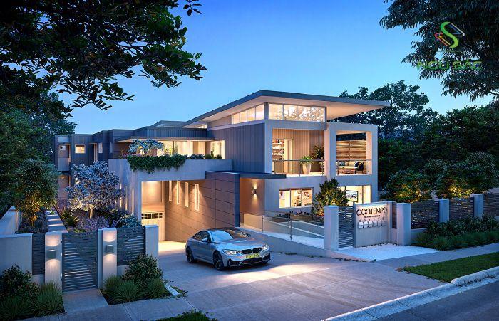 Phong cách nhà 3 tầng sân vườn