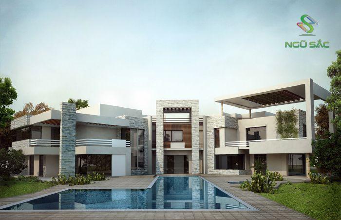 Thiết kế biệt thự có hồ bơi sân vườn