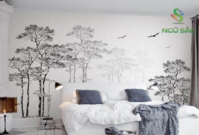 Phòng khách với giấy dán tường độc đáo