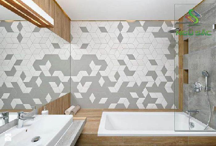 Phòng tắm hiện đại với gạch ốp tường độc đáo