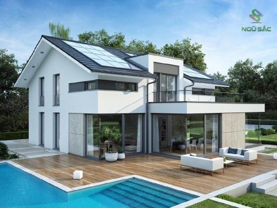 Thiết kế biệt thự mini mái thái với hồ bơi