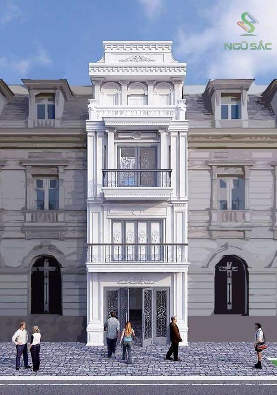 Thiết kế nhà phố đẹp mặt tiền 5m cổ điển