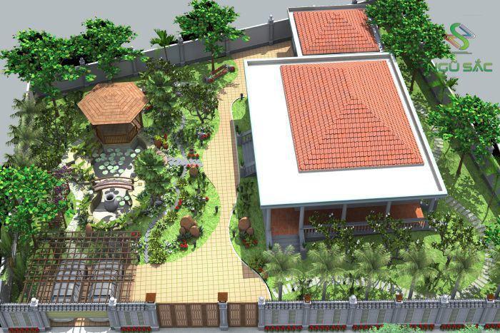 Vị trí nhà so với sân vườn hợp lí