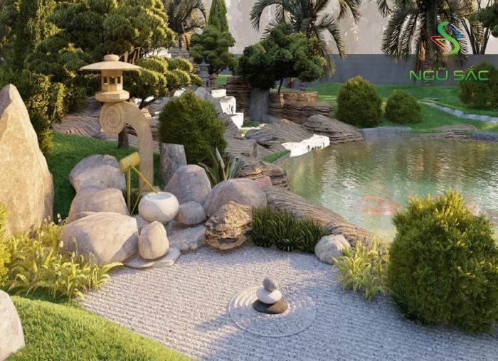 Bồn rửa tay bằng đá trong sân vườn Nhật Bản