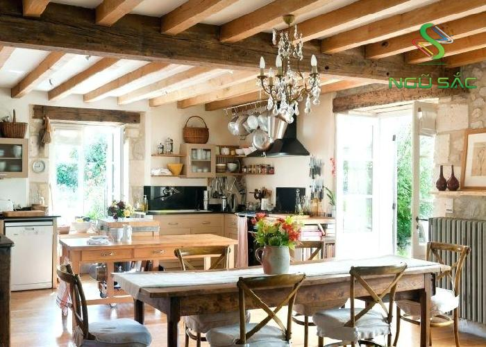 Nhà bếp đồng quê với vật dụng tự nhiên