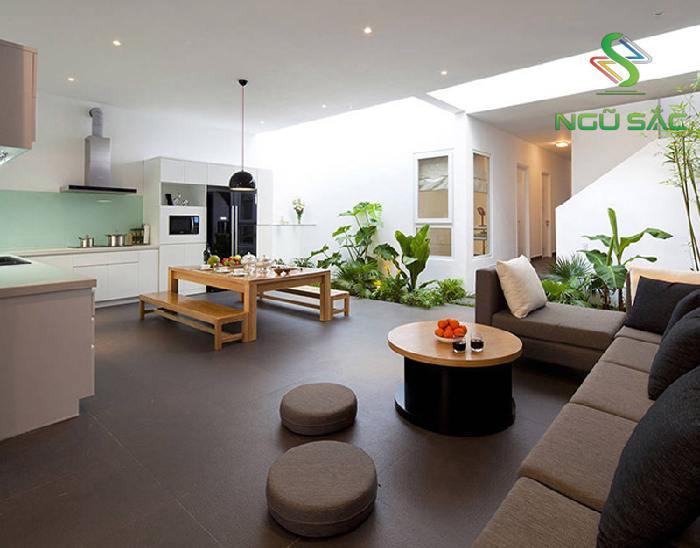 Thiết kế giếng trời trong phòng khách