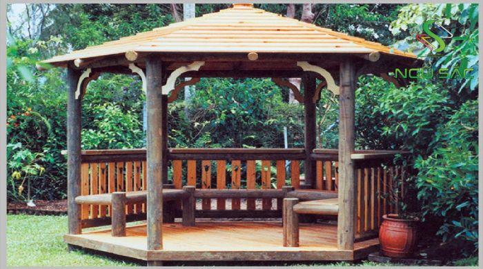Chòi bằng gỗ mang yếu tố mộc