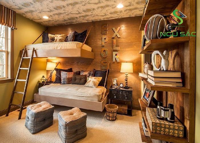 Phòng ngủ Rustic độc đáo
