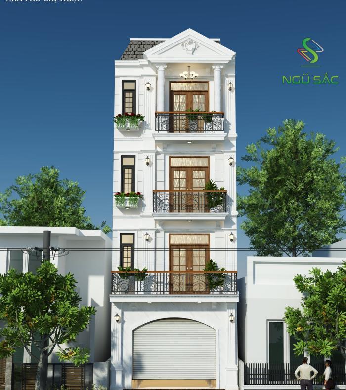 Kiểu nhà 3 tầng phong cách tân cổ điển