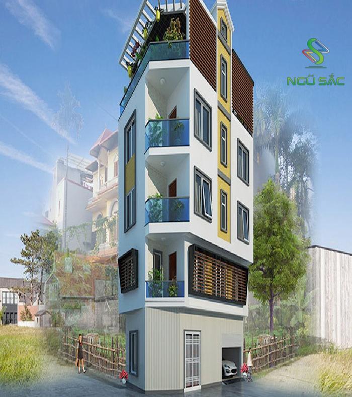 Mẫu nhà 3 tầng vác góc hiện đại