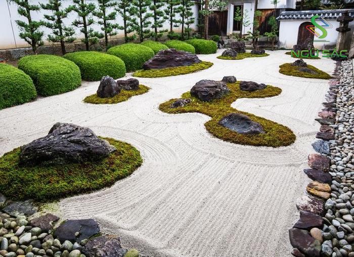 Cách bố trí đá, cát trong sân vườn Zen