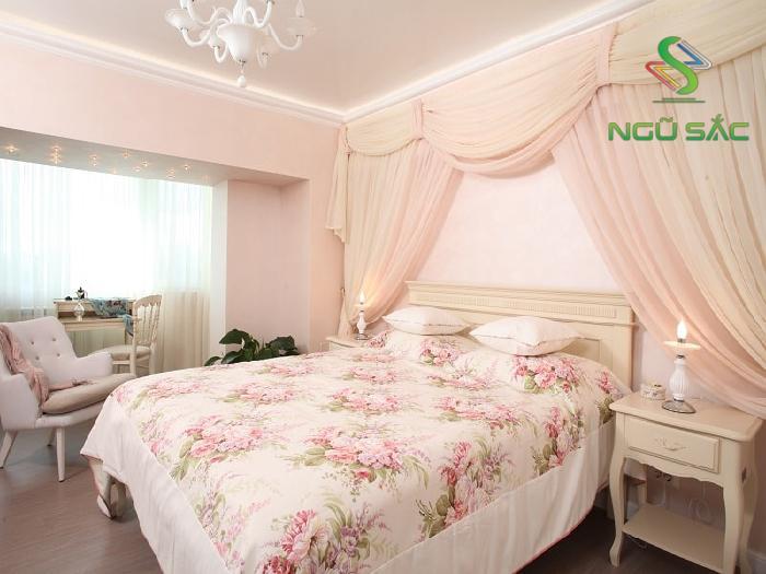 Phòng ngủ với tông màu hồng cánh sen lãng mạn