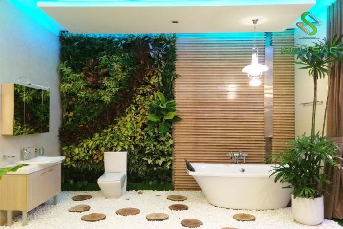 Diệt vi khuẩn ở nhà tắm với mãng tường xanh