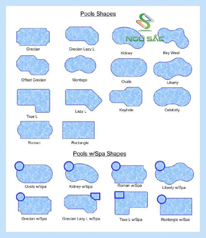 Các hình dáng của hồ bơi