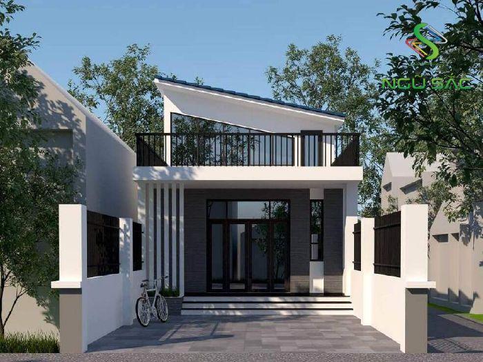 Nhà 1 tầng mái xéo hiện đại