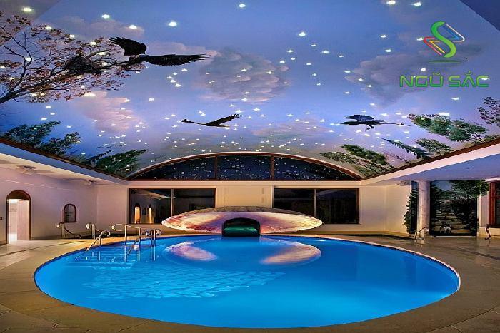 Hồ bơi với mái trần sáng tạo
