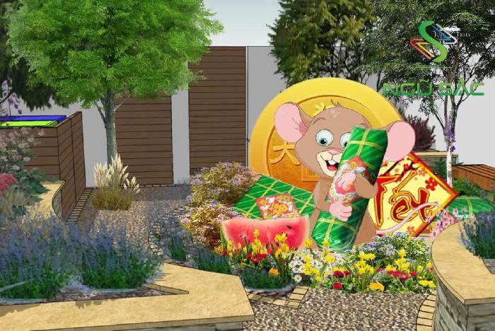 Trang trí sân vườn với biểu tượng của năm