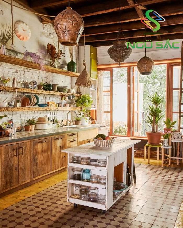 Gian bếp với vật dụng từ tự nhiên