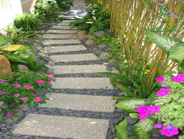 Lối đi trong sân vườn đẹp mắt