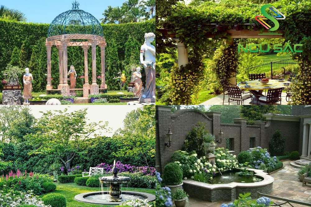Các tiểu cảnh đặc trưng của sân vườn châu Âu