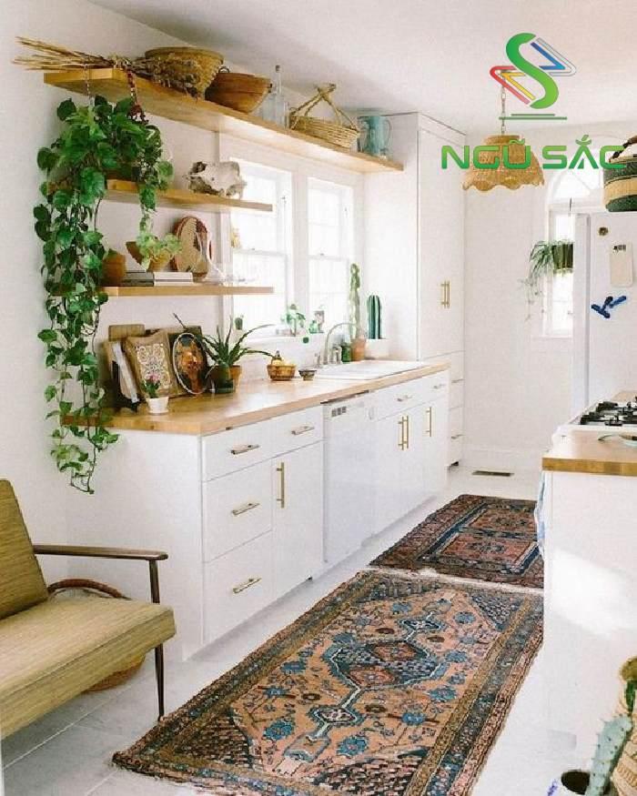 Bố trí thảm ở không gian bếp