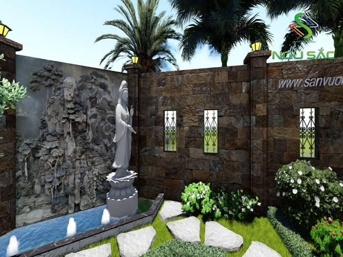 Tường đá và đài phun nước sân vườn