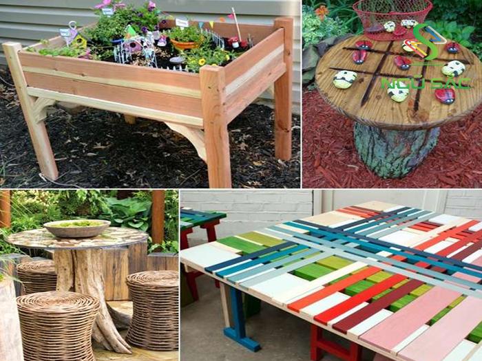 Thiết kế bàn sáng tạo cho sân vườn