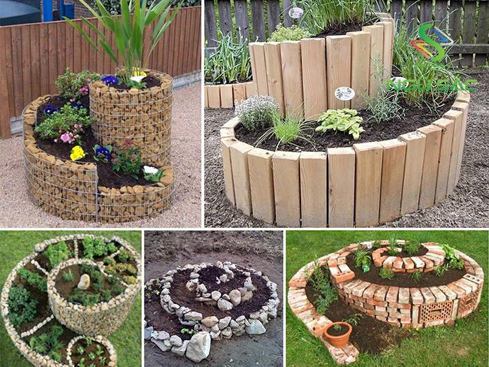 Sáng tạo với bồn trồng hoa sân vườn