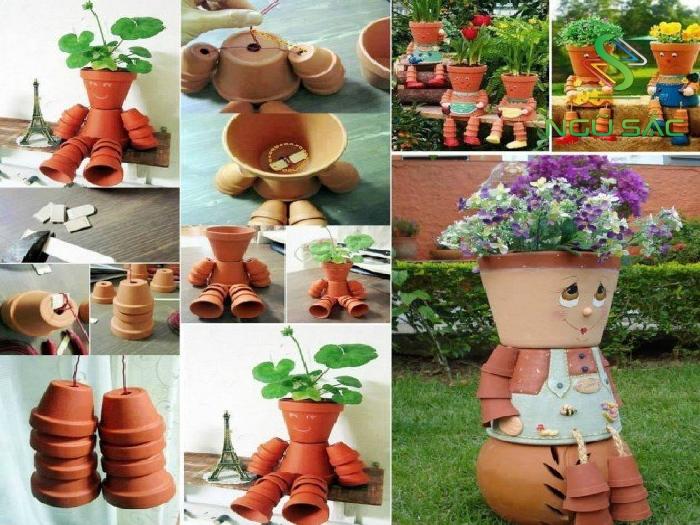 Sáng tạo chậu trồng cây xinh xắn