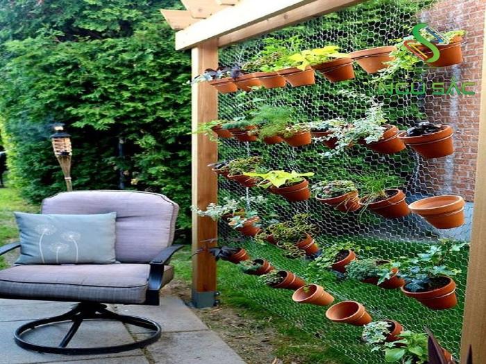 Trang trí sân vườn với kệ treo