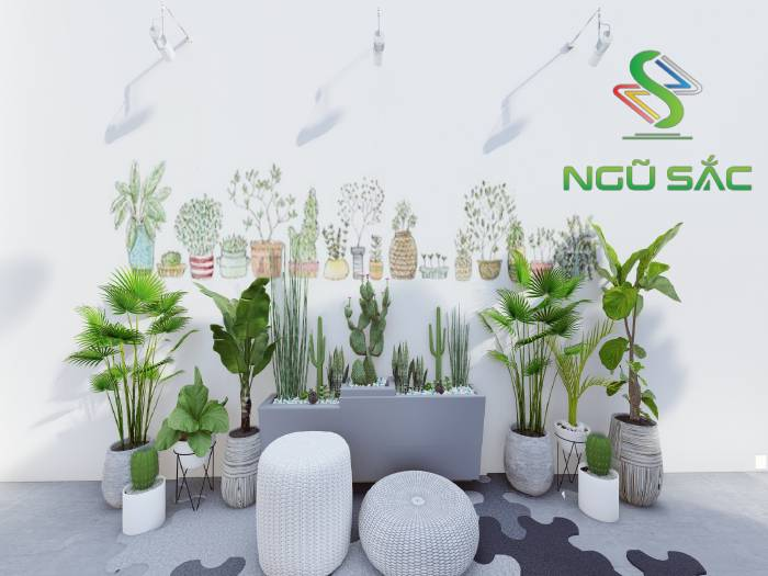 Tiểu cảnh vẽ tường và trang trí cây xanh trong quán