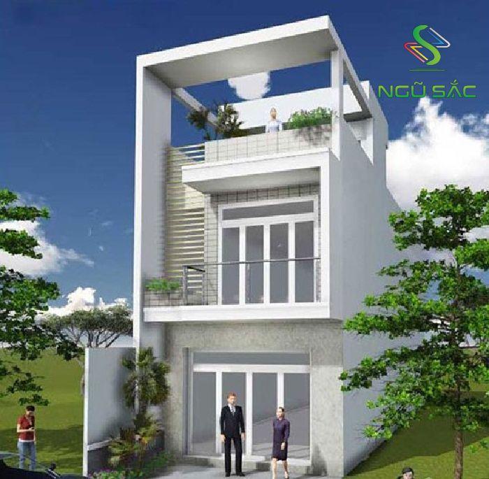 Mẫu thiết kế nhà 2 tầng 1 tum đẹp