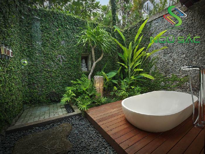Trang trí phòng tắm với các tượng đá