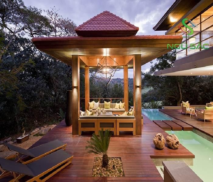 THiết kế nhà chòi cạnh bể bơi