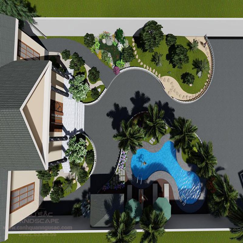 Phối Cảnh 3D Thiết Kế Sân Vườn Biệt Thự Chị Viện Long Thanh