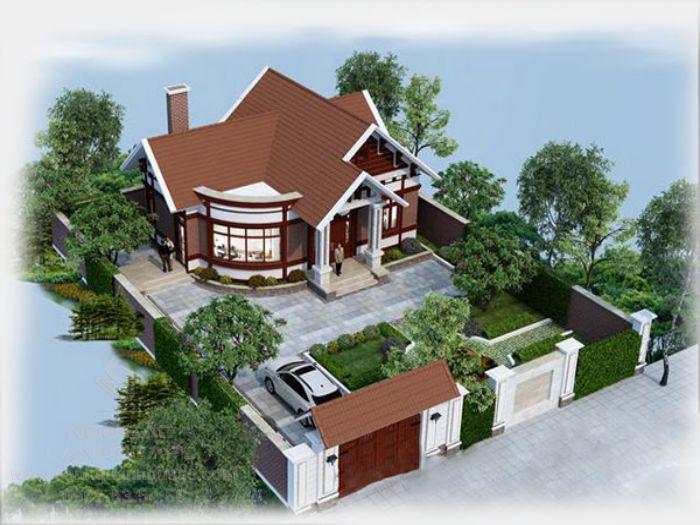 Thiết kế nhà vườn mái thái sang trọng