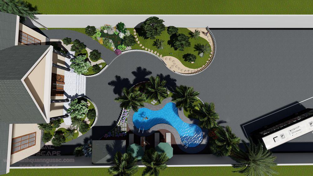 Toàn cảnh thiết kế sân vườn từ trên cao