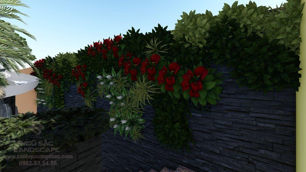 Tiểu cảnh tường cây sân vườn