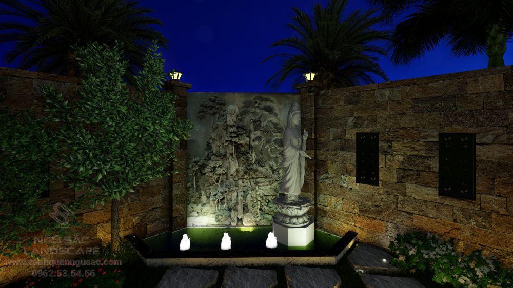 Khu vực tượng và tranh phù điêu vào ban đêm