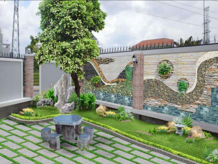 Tiểu cảnh tường vườn khô và tường đá