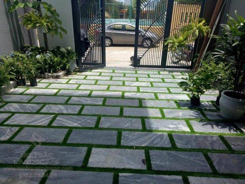Thiết kế sân vườn với đá lát sân