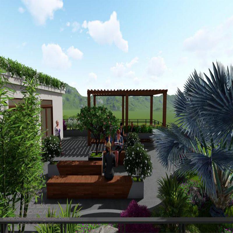 Phối Cảnh 3D Thiết Kế Sân Vườn Công Ty Anh Phúc Ở Hóc Môn