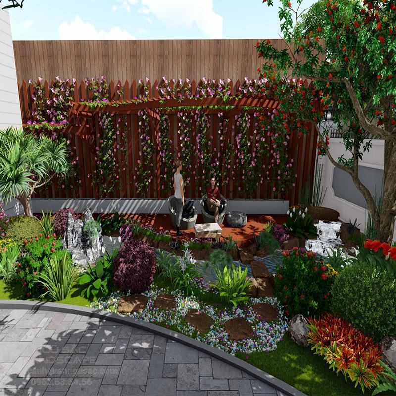 Phối Cảnh 3D Sân Vườn Biệt Thự Chị Quyên Vĩnh Long