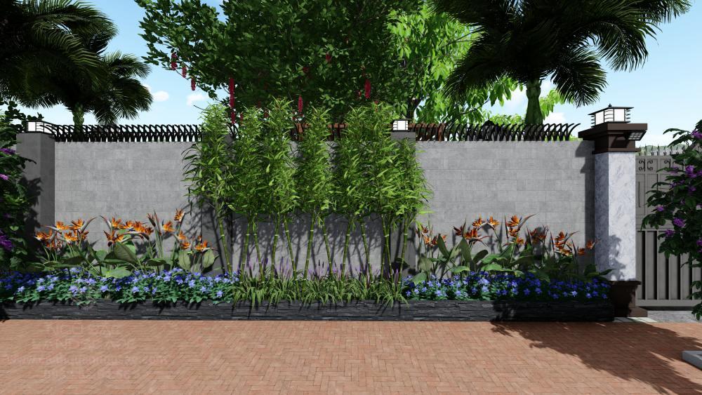 Phối cảnh trúc và hoa mỏ két