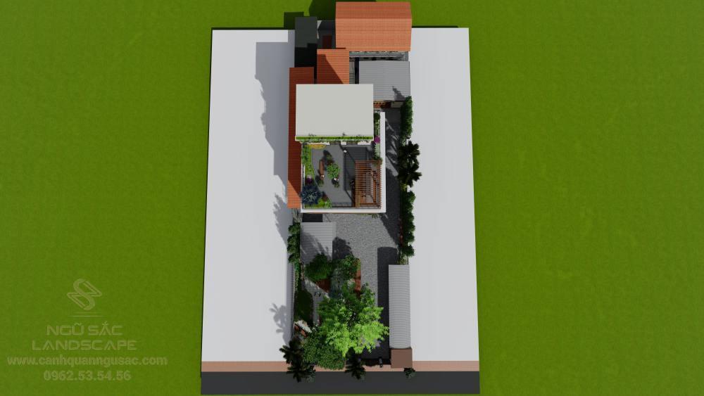 Tổng quan sân vườn từ trên cao