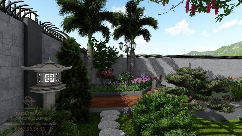 Tiểu cảnh trang trí ở khu vực cổng